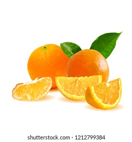 Fresh, nutritious, tasty orange. Vector illustration. Fruits ingredients in triangulation technique. Orange low poly.