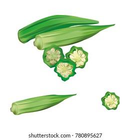 Fresh okra or green rosellecut pieces
