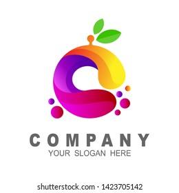 fresh orange fruit logo, 3d logo template, leaf and circle icon
