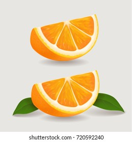 Fresh orange fruit slice with green leaves. Realistic vector illustration