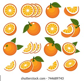 Fresh orange fruits. Vector illustration of juicy citrus oranges with half and slice for summer breakfast isolated on white background