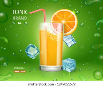 Fresh orange and glass with juice and ice cubes