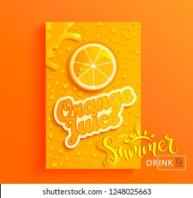 Fresh orange juice banner with drops from condensation, splashing and fruit slice on gradient hot summer background for brand,logo, template,label,emblem,store,packaging,advertise.Vector illustration