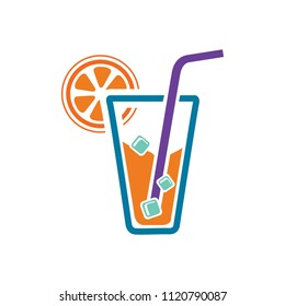fresh orange juice glass, cocktail juice illustration isolated - fresh drink sign symbol