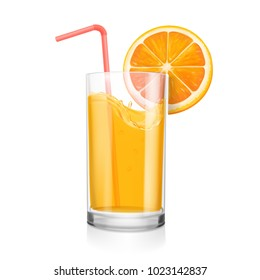 Fresh orange juice in a glass. Coctail pipe and realisitc orange slice Citrus natural fruit drink