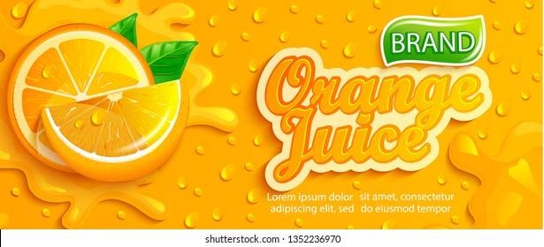 Fresh orange juice splash banner with drops from condensation, fruit slice on gradient yellow background for brand