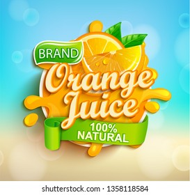 Fresh orange juice splash logo on bokeh background, fruit slice and realistic natural citrus for brand,banner, template,label,emblem,store,packaging,advertising, poster.Vector illustration