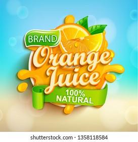 Fresh orange juice splash logo on bokeh background, fruit slice and realistic natural citrus for brand,banner, template,label,emblem,store,packaging,advertising, poster.Vector illustration