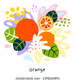 Fresh orange tropical exotic citrus fruits juice splash organic food juicy splatter oranges on abstract background vector hand drawn illustrations