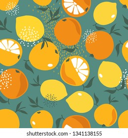 Fresh oranges and lemons, leaves background. Hand drawn overlapping backdrop. Colorful wallpaper vector. Seamless pattern with citrus fruits collection. Decorative illustration, good for printing
