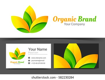 Fresh Organic Corporate Logo and business card sign template. Creative design with colorful logotype visual identity composition made of multicolored element. Vector illustration.