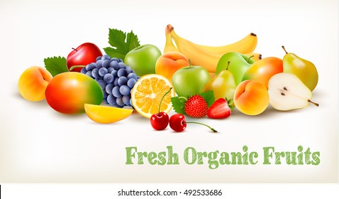 Fresh Organic Fruits And Berries Isolated On White Background. Vector