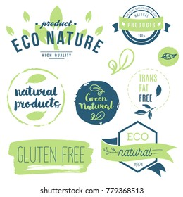 Fresh, organic, gluten free, 100% bio, premium quality, locally grown, healthy food natural products, farm fresh stickers. Vector menu organic labels, food products packaging bio emblems set.