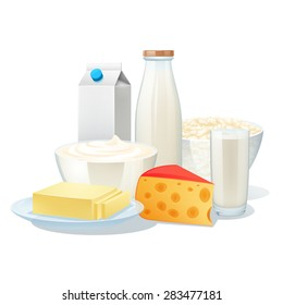 Fresh organic milk products set with cheese and butter vector illustration