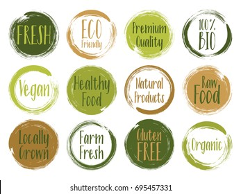 Fresh, organic, raw food, vegan, gluten free, eco friendly, premium quality, locally grown, healthy food stickers. Vector menu organic labels, natural products packaging bio emblems set.