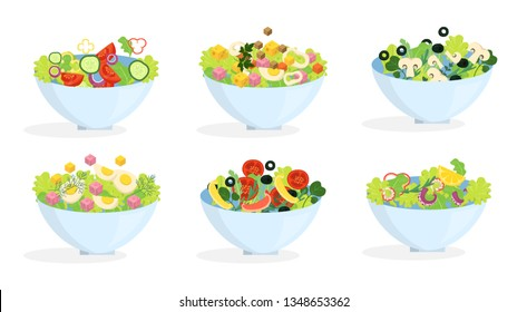 Fresh organic salad set. Healthy dinner made of vegetable. Mixed ingredient in a bowl. Isolated vector illustration in cartoon style