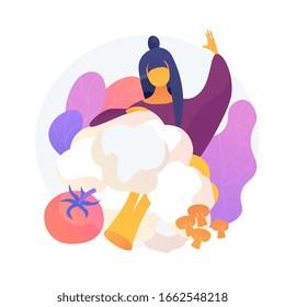Fresh organic vegetables, vegetarian diet. Vegan food, farmer market veggies, healthy lifestyle. Cauliflower, mushroom, tomato salad ingredients. Vector isolated concept metaphor illustration.