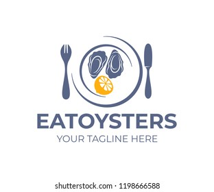 Fresh oysters in shell, lemon in plate or dish with fork and knife, logo design. Healthy food and seafood, restaurant, vector design. Nature, animal, natural and organic, illustration