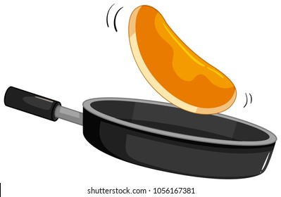 Fresh pancake in the pan illustration