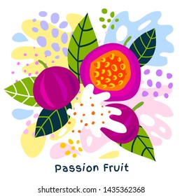 Fresh passion fruit tropical fruits juice splash organic food ripe juicy yogurt splatter on abstract background. Vector hand drawn illustrations