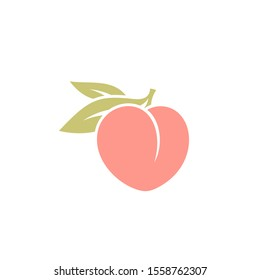 Fresh peach. Logo. Japanese white peach with leaves on white background. Sweet fruit