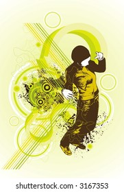 fresh perspective,woman dancing on abstract background,design elements,vector illustration