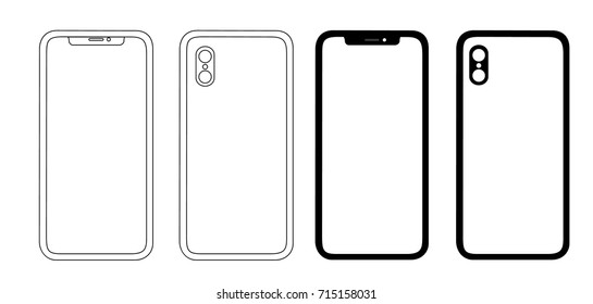 Fresh phone icons front and black vector drawing  isolated on white background