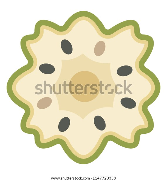 A fresh piece of fruit having small seeds in it depicting custard apple