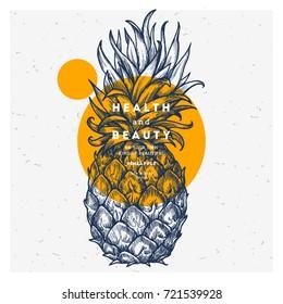 Fresh pineapple design template. Botanical fruit. Engraved pineapple. Vector illustration
