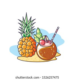 fresh pineapple fruit in the beach with cocktail coconut vector illustration design