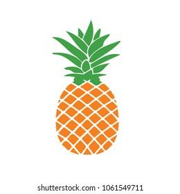 Fresh pineapple illustration. design graphic. over yellow background