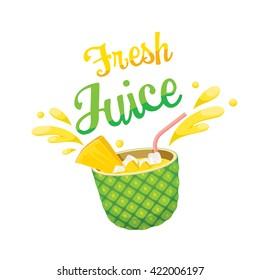 Fresh Pineapple Juice, Summer, Tropical Fruits, Healthy Eating, Food, Drink, Natural