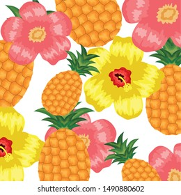 fresh pineapples fruits and flowers pattern