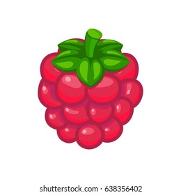 Fresh pink raspberry berry vector icon for food art and illustration
