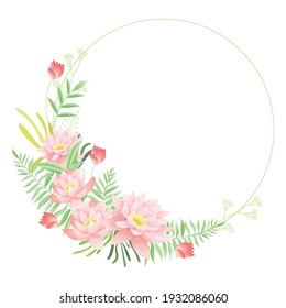 Fresh pink waterlily round bouquets with leaves for greetings card and any invitation