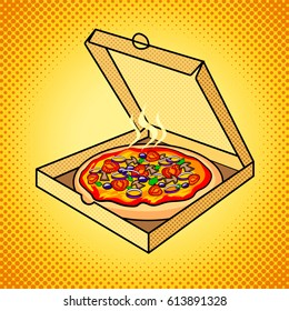 Fresh pizza in box pop art hand drawn vector illustration.