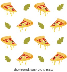 Fresh pizza slice seamless pattern, pizzeria italian background restaurant, illustration of delicious pepperoni with salami, dinner seamless wrapping