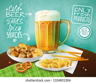 Fresh products advertising background with mug of cold beer  and bowls with crackers and snacks realistic vector illustration