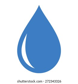 Fresh rain water drop / droplet or tear drop flat vector icon for apps