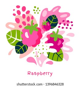 Fresh raspberries berry berries fruits juice splash organic food juicy splatter on abstract background vector hand drawn illustrations