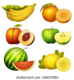 Fresh realistic juicy fruits slice vector illustration 3d organic vegetarian isolated greengrocery fruit.