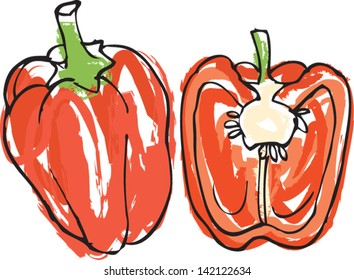 Fresh red bell peppers whole & sliced vector illustration