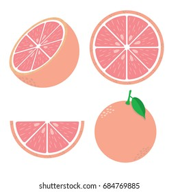Fresh red grapefruit vector illustration