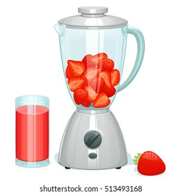 fresh ripe cut strawberry in a glass bowl of the blender, lies one whole berry of strawberry nearby and there is a glass with strawberry cocktail