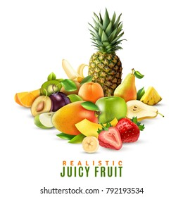 Fresh ripe juicy fruit and berries with pineapple strawberry pear banana apple orange mango peach kiwi plum on white background realistic vector illustration