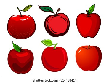 Fresh and ripe red apple fruits with green leaves and smooth shiny skin isolated on white background