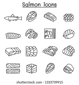 Fresh salmon fish icon set in thin line style