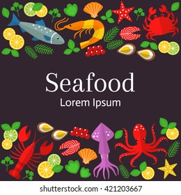 Fresh seafood  background.  Vector flat  illustrations of lobster, crab, salmon, fish, squid,  oyster, shrimp, octopus, eel  isolated.