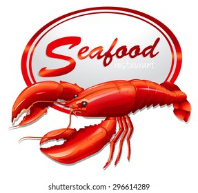 Fresh seafood with lobster illustration