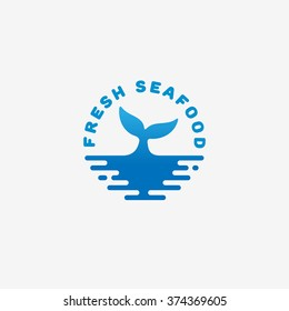Fresh seafood logo template design. Vector illustration.